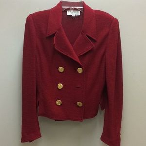St John Collection Red knit jacket missing button